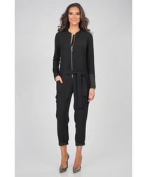 Black waist-tie zip jumpsuit