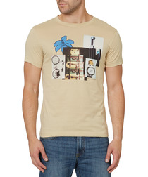 Beige pure cotton holiday motif T-shirt