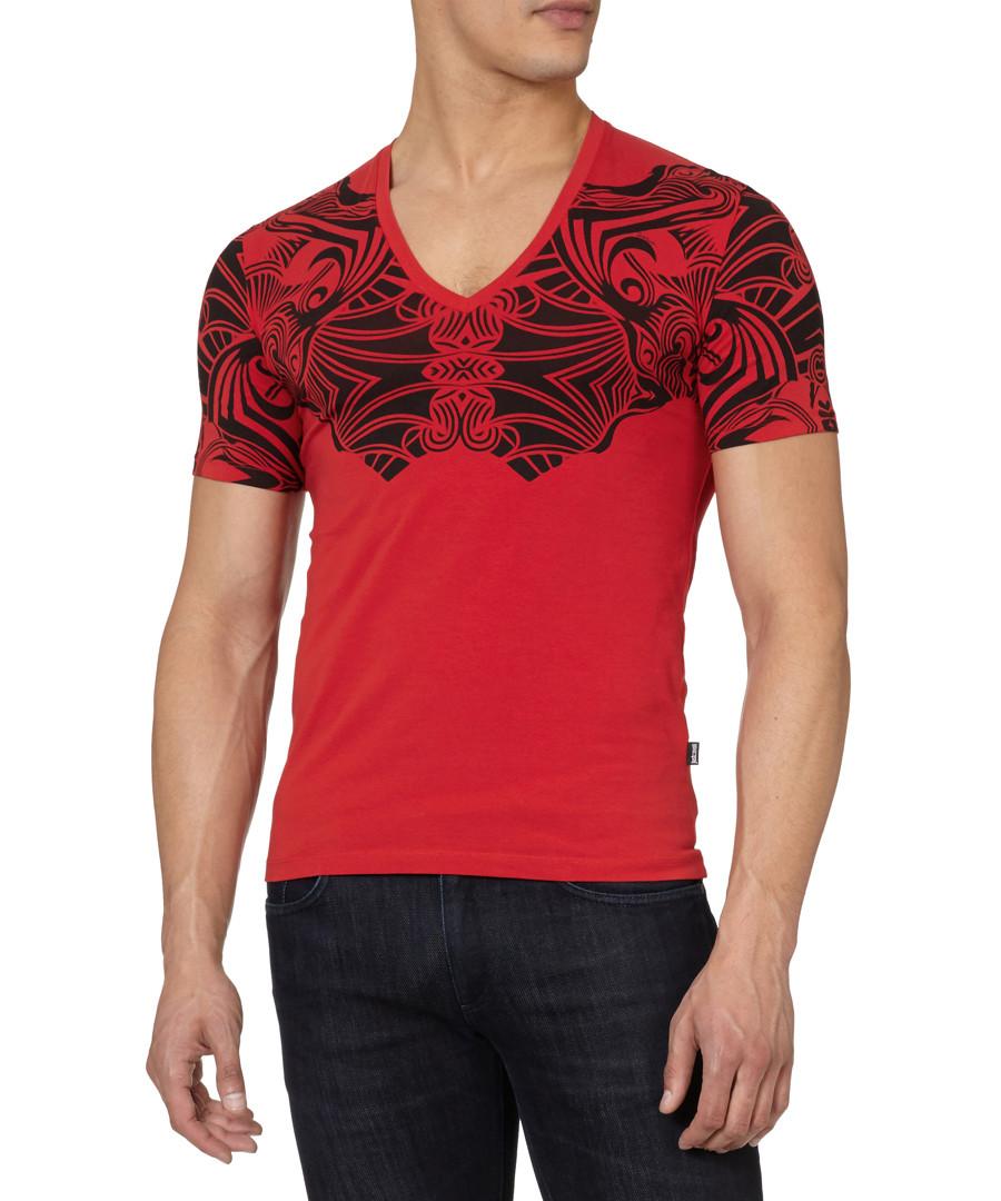 Red cotton blend tribal T-shirt Sale - just cavalli