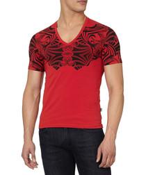 Red cotton blend tribal T-shirt