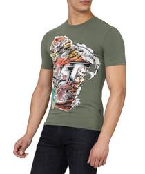 Green cotton blend bird logo T-shirt