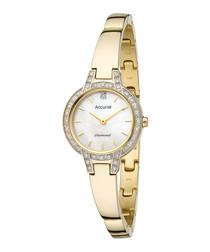 Crystal & gold-tone steel bracelet watch