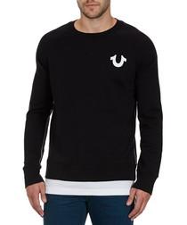 Black cotton faux-hem logo sweatshirt