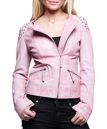 Berenice rose washed leather jacket