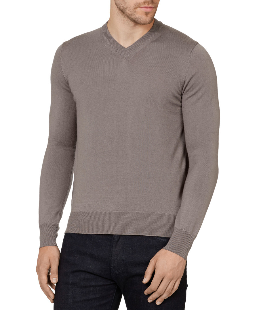 Taupe pure wool V-neck jumper Sale - armani jeans