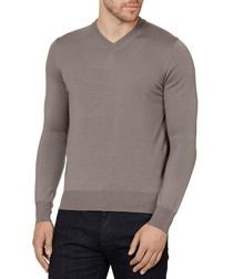 Taupe pure wool V-neck jumper