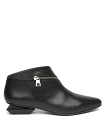 Black leather zip detail ankle boots