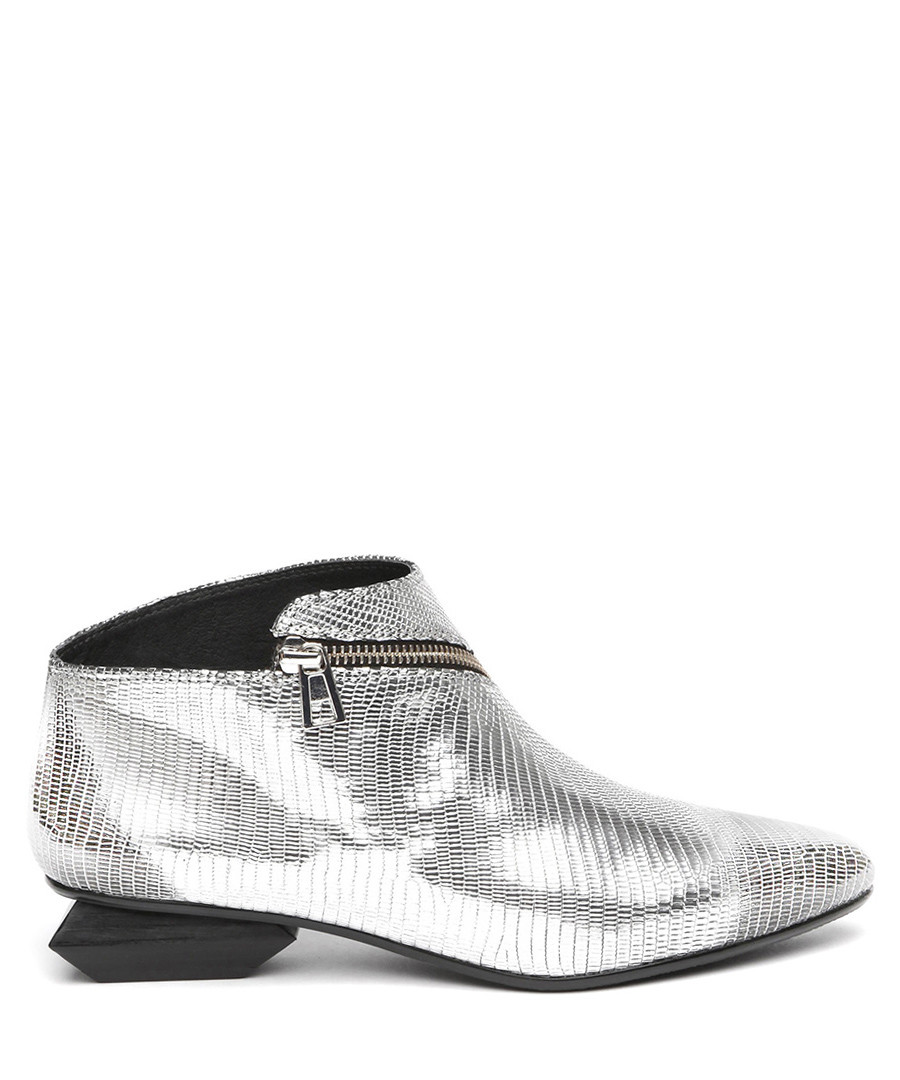 Silver leather zip detail ankle boots Sale - Jady Rose