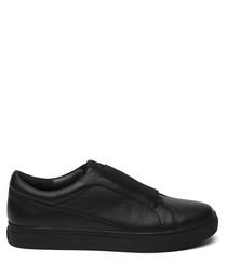 Women's black leather slip-on sneakers