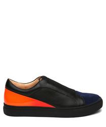 Women's orange leather slip-on sneakers
