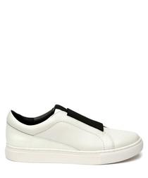 Women's white leather slip-on sneakers