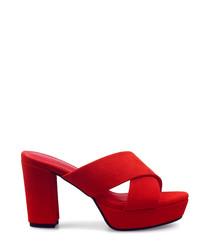 Red suede platform peep toe heels