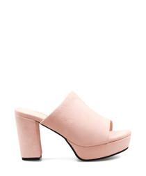 Light pink suede platform peep toe mules