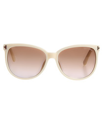 Ivory & brown square sunglasses