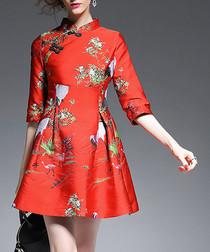 Red mandarin collar skater dress