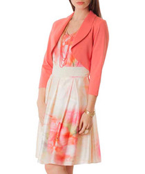 Coral cropped long-sleeved jacket