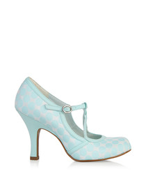 Mint geometric print T-bar heels