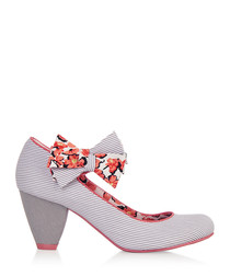 Coral stripe bow high heels
