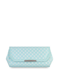 Mint geometric print clutch