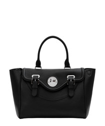 Happy Satchel black leather tote bag