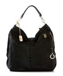 Black leather lattice slouch bag