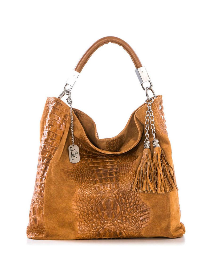 Tan leather moc-croc slouch bag Sale - Anna Morellini
