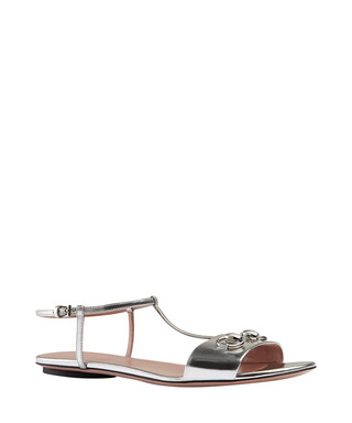 bf636b78ed67 Gucci. Women s silver leather horsebit sandals