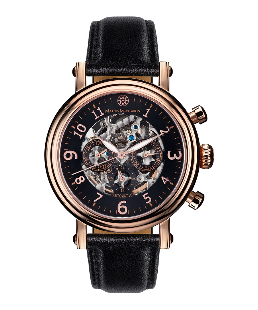 Executive rose gold-tone & black watch Sale - mathis montabon