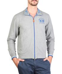 Grey pure cotton zip-up jacket