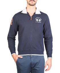 Navy pure cotton zip-up jacket