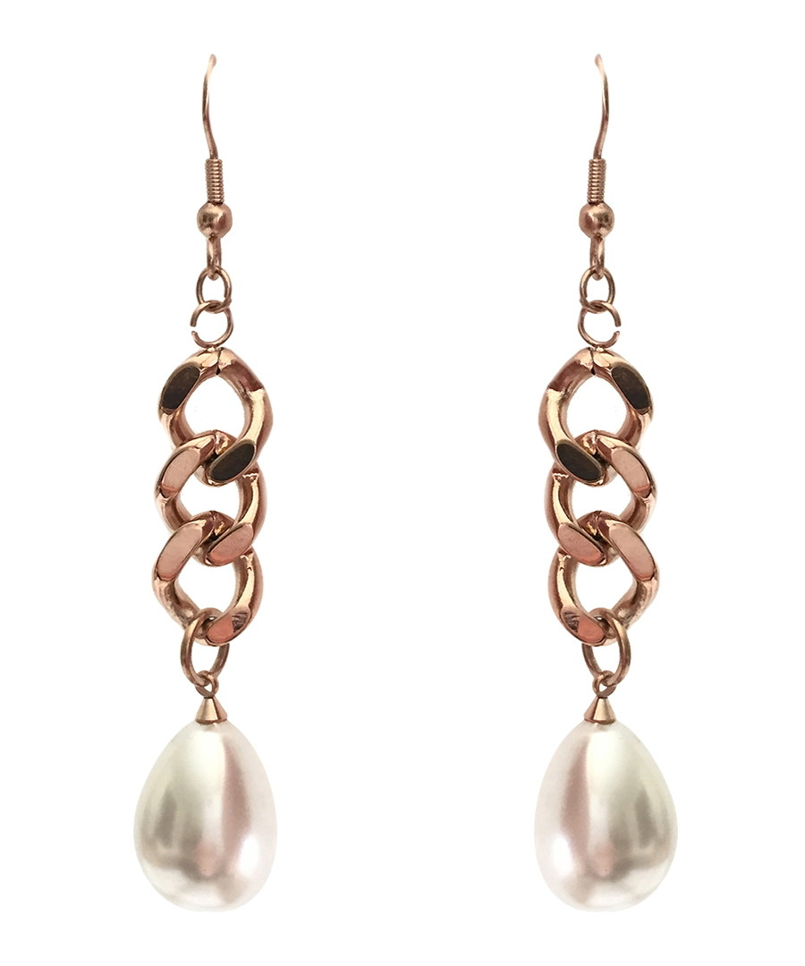 18k rose gold-plated chain earrings Sale - chloe collection by liv oliver