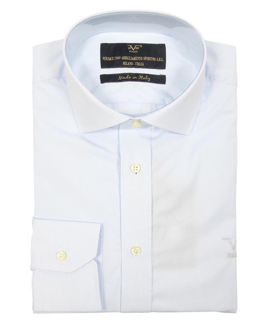 Light blue cotton long-sleeved shirt Sale - v italia by versace 1969 abbigliamento sportivo srl milano italia