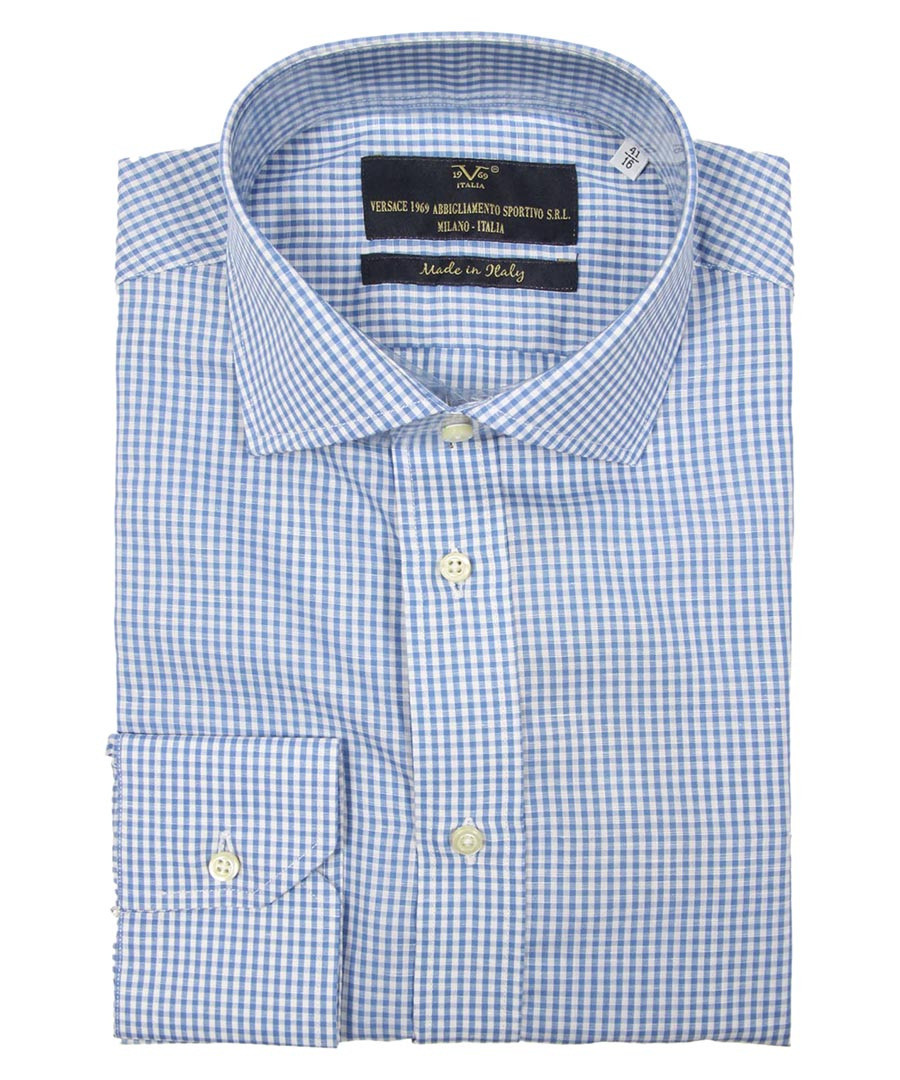 Blue & white cotton checked shirt Sale - v italia by versace 1969 abbigliamento sportivo srl milano italia