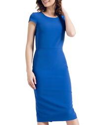 Cobalt cap sleeve knee length dress