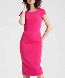 Pink cap sleeve knee length dress