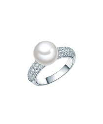 Silver-tone faux-pearl & crystal ring