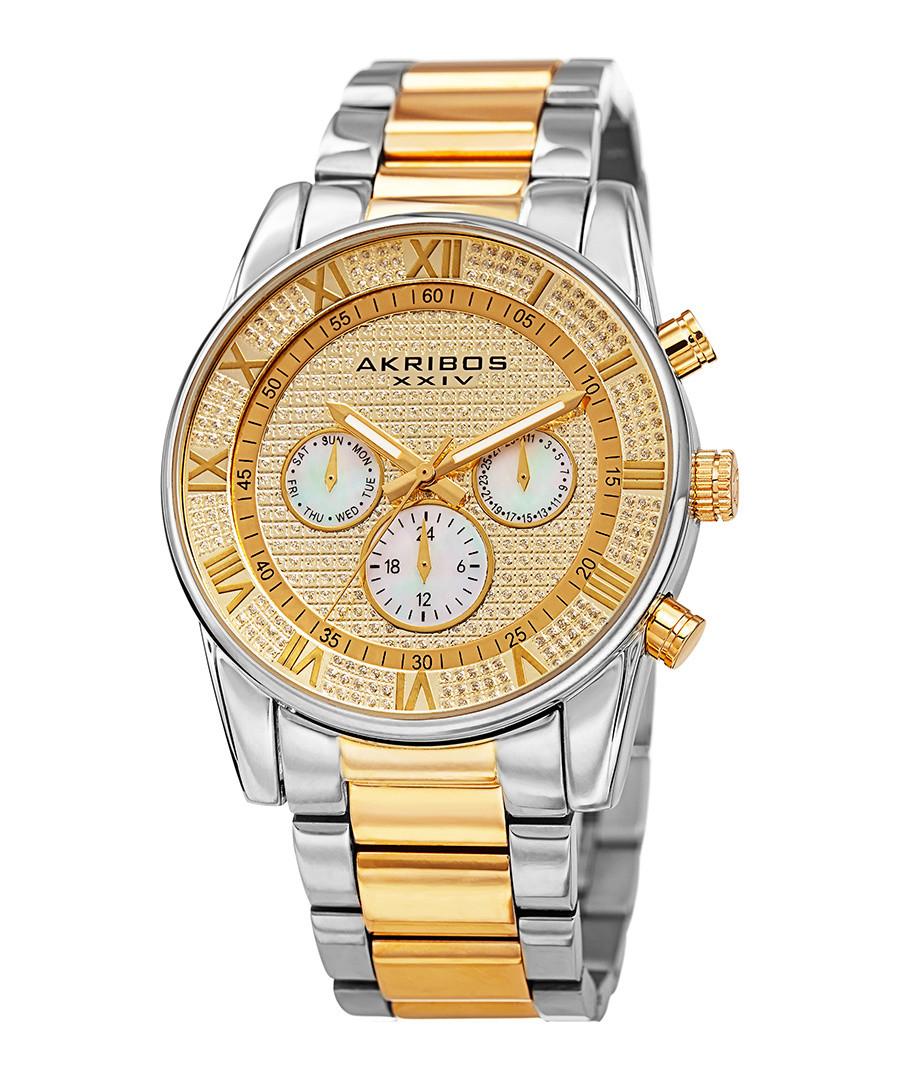 Two-tone crystal dial chronograph watch Sale - akribos XXIV