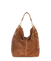 Brown leather woven slouch bag