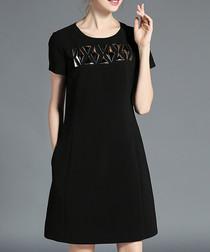 Black & silver appliqué T-shirt dress