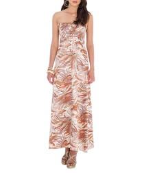 Brown strapless bandeau maxi dress