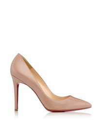 Pigalle nude patent leather heels
