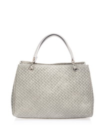 Grey leather weave-effect shoulder bag