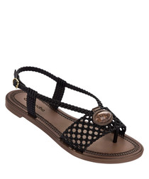 Cameo black braided sandals
