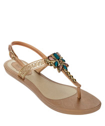 Majesty gold embossed sandals