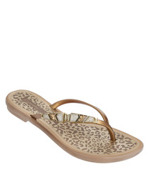 Jewel II gold embellished flip flops