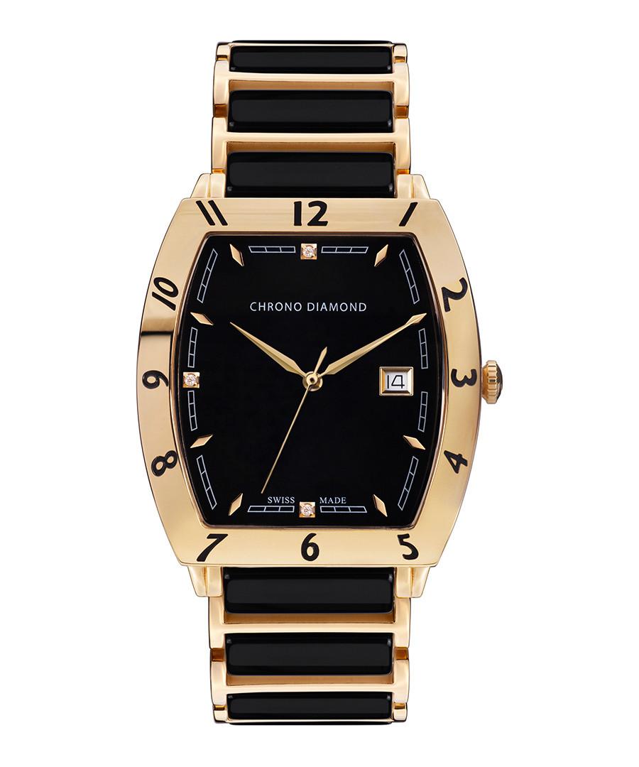 Leandro black & gold-tone ceramic watch Sale - chrono diamond
