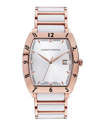 Leandro rose & white ceramic watch