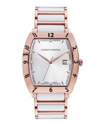 Leandro rose & white ceramic watch