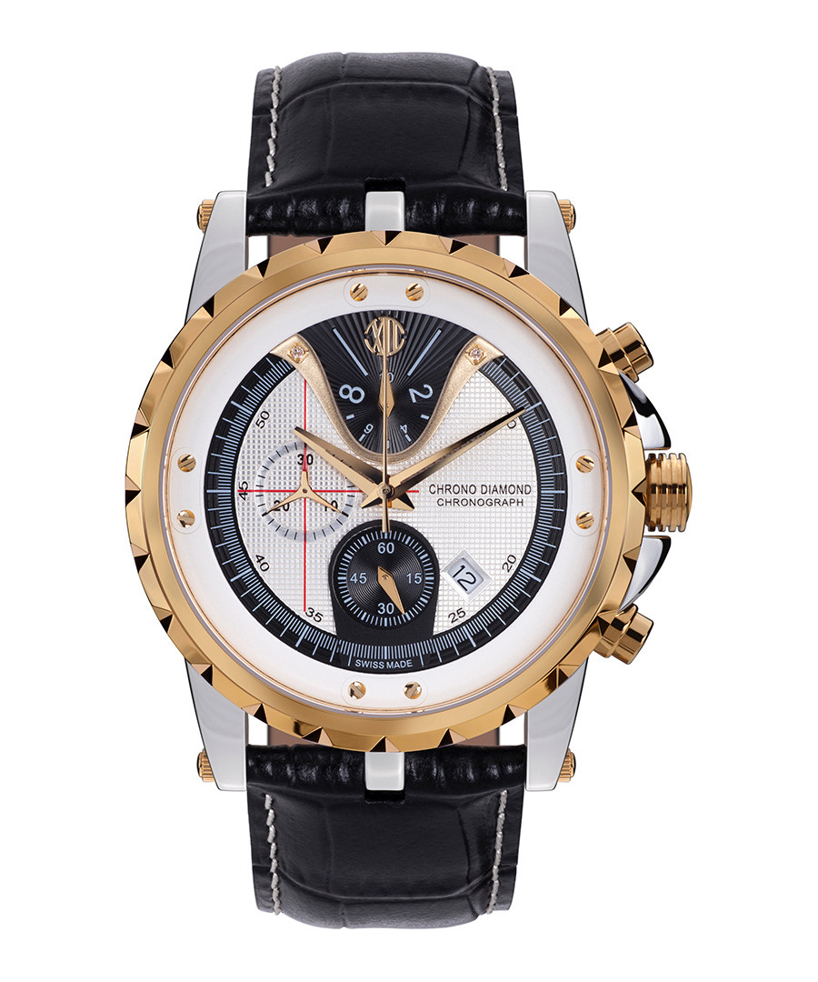 Furia black & gold-tone leather watch Sale - chrono diamond
