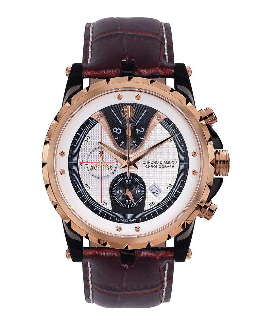 Furia brown leather strap watch Sale - chrono diamond